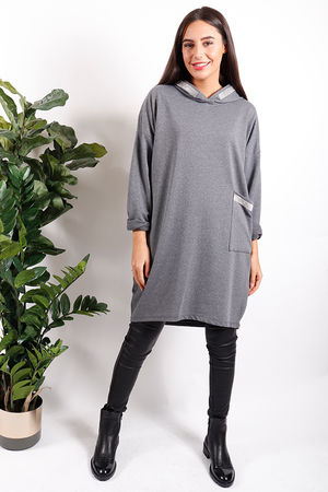 Made In Italy Bling Hooded Tunic Grey