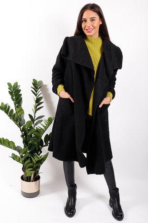 Made In Italy Boiled Wool Blanket Coat Black