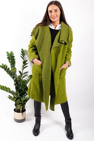 Made In Italy Boiled Wool Blanket Coat Lime