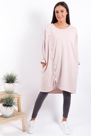 Made In Italy Diagonal Zip Dress Blush Pink
