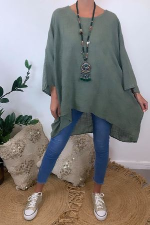Embroidered Archie Batwing Top Khaki