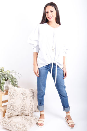 Made In Italy Knot Top White