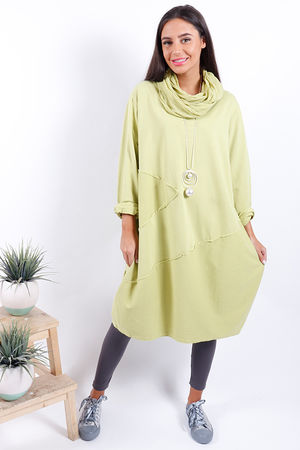 Made In Italy Lime Cowl Tunic