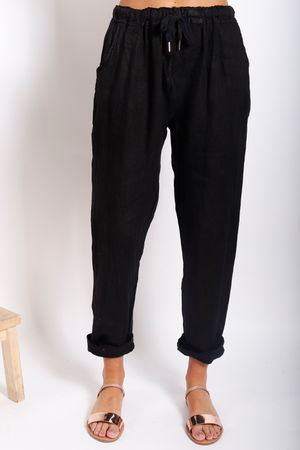 Made In Italy Linen Pant Black