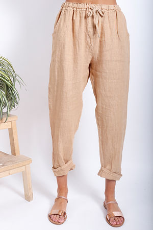 Made In Italy Linen Pant Deep Sand