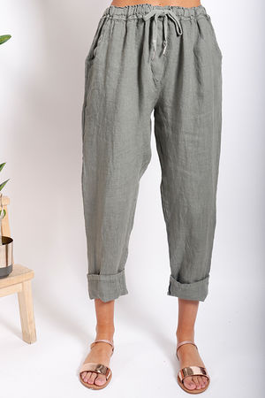 Made In Italy Linen Pant Khaki