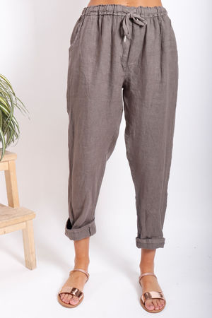 Made In Italy Linen Pant Mocha