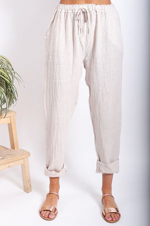 Made In Italy Linen Pant Stone