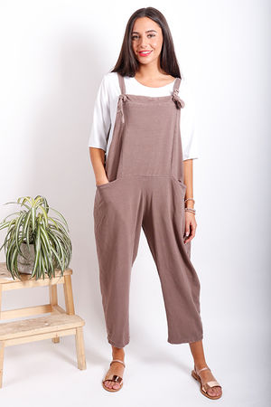 Made In Italy Mama Mia Dungarees Washed Cappuccino