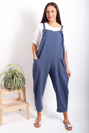 Made In Italy Mama Mia Dungarees Washed Navy