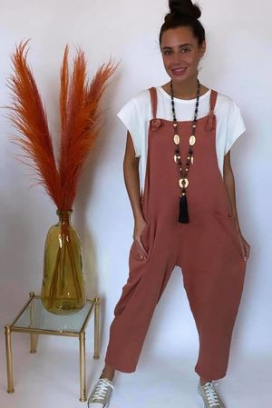 Made In Italy Mama Mia Dungarees Washed Terracotta