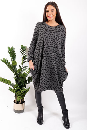 Made In Italy Mercer Animal Cocoon Tunic Graphite *PRE ORDER DUE IN 29/11/19