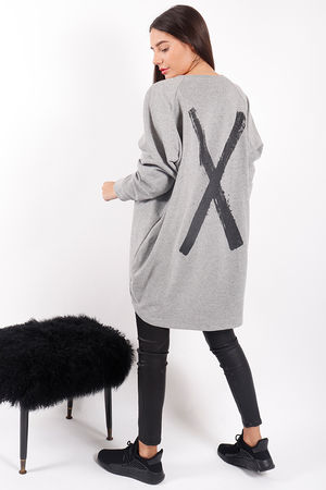 Made In Italy Mercer Cross Back Sweat Grey