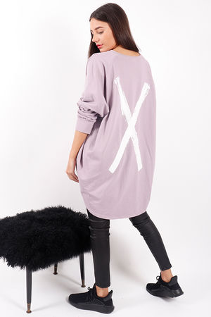 Made In Italy Mercer Cross Back Sweat Lilac