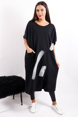 Made In Italy Mercer Paint Lines Dress Black