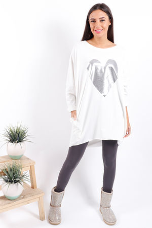 Made In Italy Metallic Heart Tunic Winter White