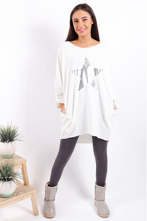 Made In Italy Metallic Star Tunic Winter White