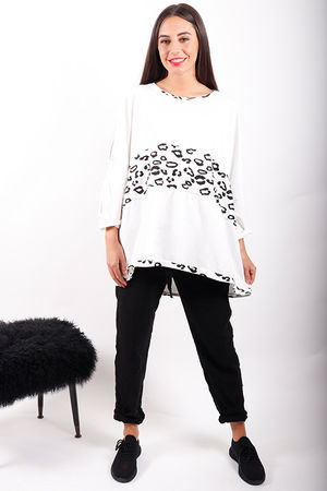 Made In Italy Oversized Animal Panel Sweat White