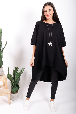 Made In Italy Oversized Archie Slouch Tee Black