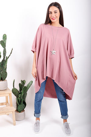 Made In Italy Oversized Archie Slouch Tee Dusky Rose