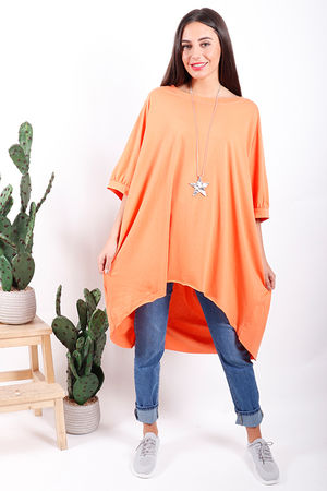 Made In Italy Oversized Archie Slouch Tee Papaya