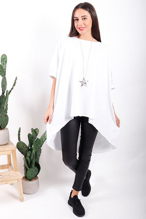 Made In Italy Oversized Archie Slouch Tee White