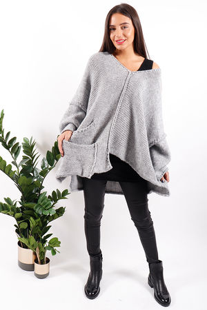 Made In Italy Oversized Asymmetric Slouch Knit Grey