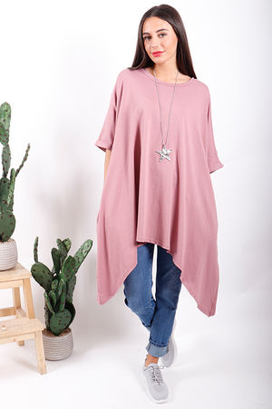 Made In Italy Oversized Dip Side Tee Dusky Rose