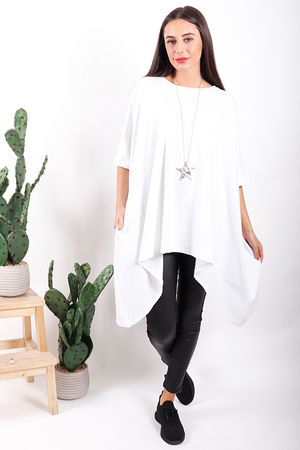 Made In Italy Oversized Dip Side Tee White