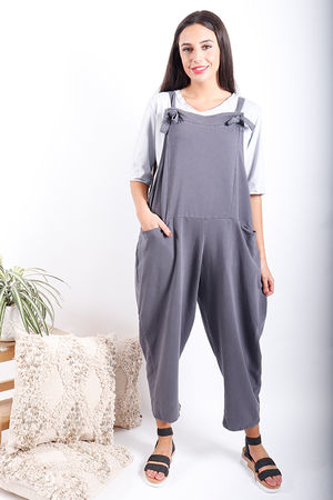 Made In Italy Oversized Dungarees Washed Graphite *PRE ORDER 7 DAYS*