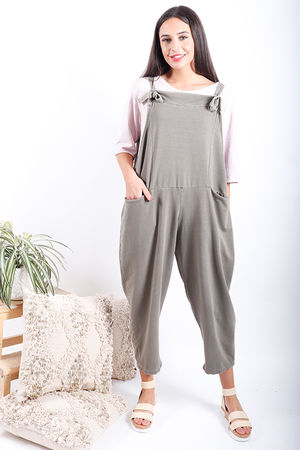 Made In Italy Basic Oversized Dungarees Washed Khaki