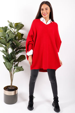 Made In Italy Oversized Ribby Red