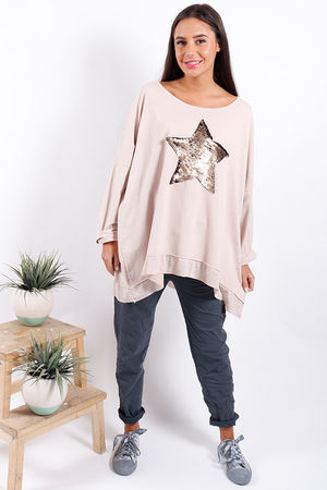 Made In Italy Oversized Sequin Star Sweat Blush