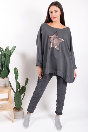 Made In Italy Oversized Sequin Star Sweat Graphite