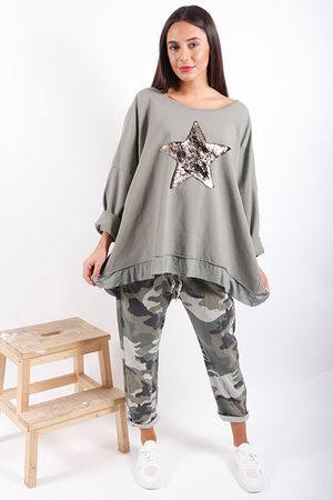 Made In Italy Oversized Sequin Star Sweat Khaki