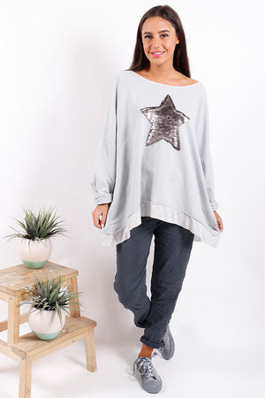 Made In Italy Oversized Sequin Star Sweat Misty Blue