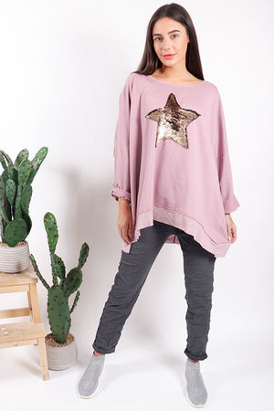 Made In Italy Oversized Sequin Star Sweat Soft Violet