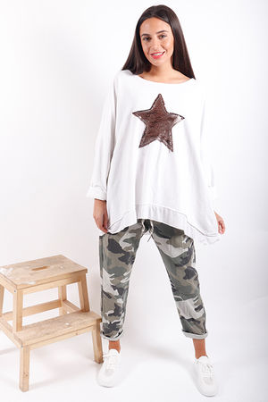 Made In Italy Oversized Sequin Star Sweat Winter White