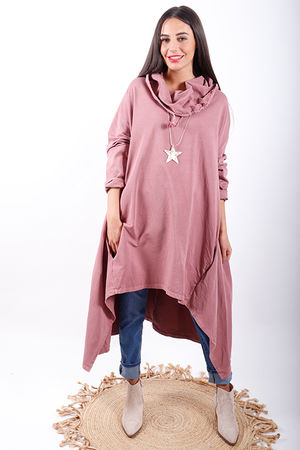 Made In Italy Oversized Trapeze Tunic Terracotta Rose