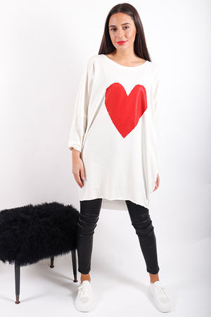 Made In Italy Red Heart Tunic