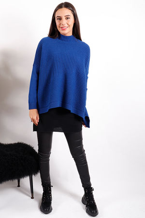 Made In Italy Ribby Turtle Knit Winter Cobalt