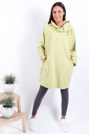 Made In Italy Ruche Tunic Lime