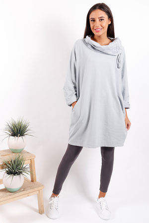 Made In Italy Ruche Tunic Misty Blue