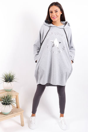 Made In Italy Self Love Hoody Grey
