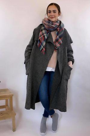 Made In Italy Slate Wool Coatigan