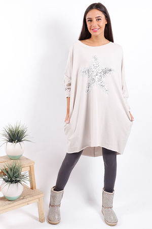 Made In Italy Snow Star Tunic Beige