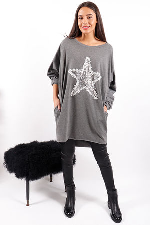 Made In Italy Snow Star Tunic Black