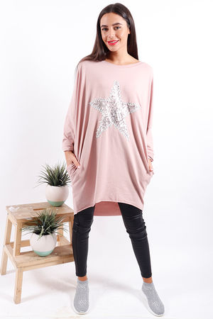 Made In Italy Snow Star Tunic Pink