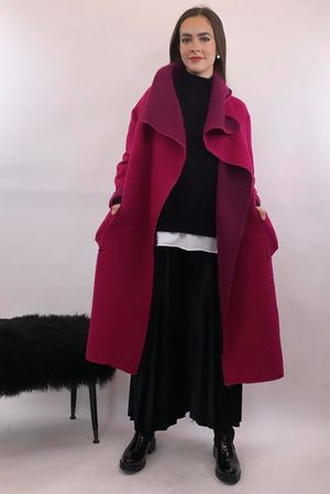 Made In Italy Hot Pink Wool Coatigan