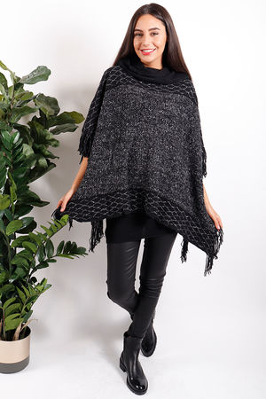 Made In Italy Wonderland Rectangle Tassel Poncho Black